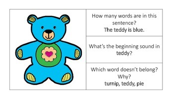Activity Cards to Support Phonological Awareness for K/1st Grade SET 4