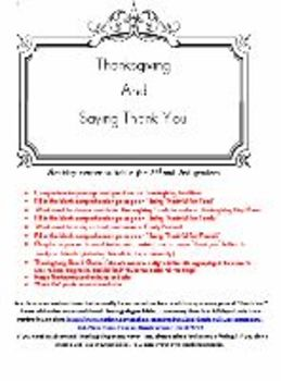 Activity Center for Thanksgiving and Saying Thank You