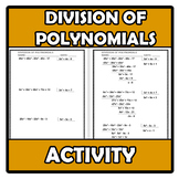 Worksheets - Division of polynomials