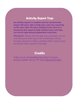 Activity Expert Tags
