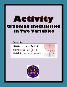 Activity - Graphing Inequalities in Two Variables