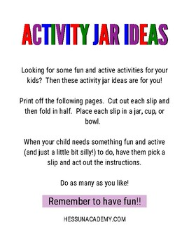 Activity Jar Ideas By Hess Un Academy Teachers Pay Teachers