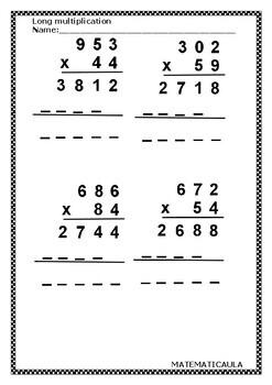 Activity - Long multiplications worksheets