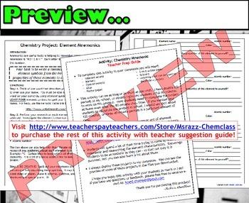Activity: Make a Chemistry Mnemonic!