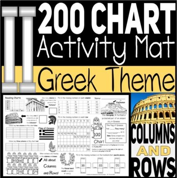 Activity Mat Columns and Rows 100/200 Charts Greek Theme