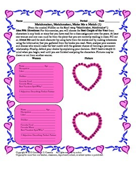 Valentine's Day Comprehension Activity: Matchmaker, Matchmaker, Make Me a Match