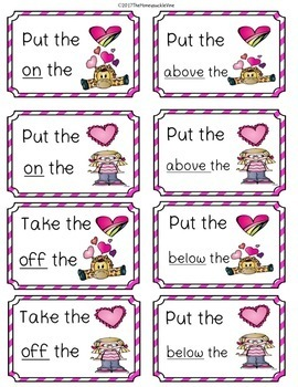 Following Directions with Positional Words Valentines