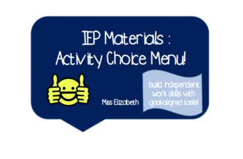 Activity Menu & Task Pieces