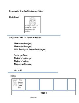 Activity Menus for Montessori Months of the Year and Days of the Week work