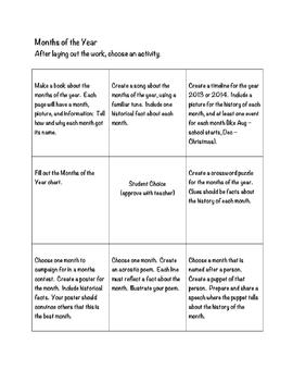 Activity Menus for Montessori Months of the Year and Days