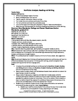 Comprehension Activity: Nonfiction Reading and Writing Analysis