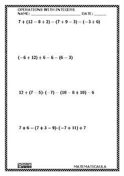Worksheets - Operations with integers numbers