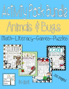 Activity Pack BUNDLE Ocean Farm Bugs Zoo Math Literacy Games Puzzles Centers