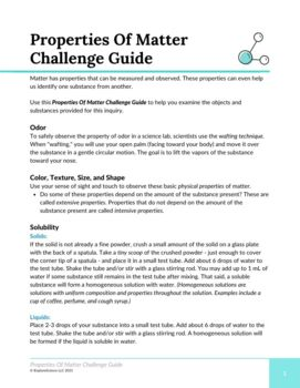 Activity Pack: Matter and Its Properties
