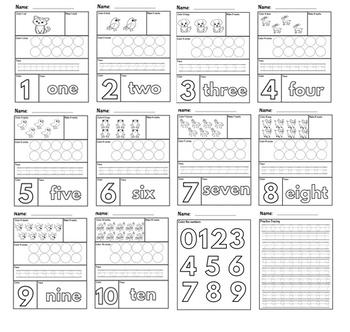 Activity Pack: Number Formation 1-10 Worksheets & Printables