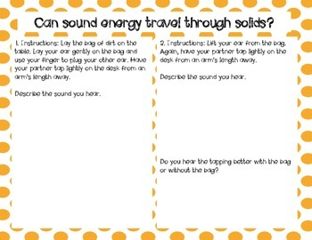 Activity Pack: Sound Energy Activity