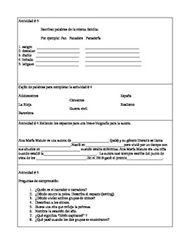 """Activity Packet for the short story  """"Los chicos"""" written by Ana María Matute"""