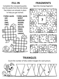 Activity Page with 3 Brain Games, Non-CU
