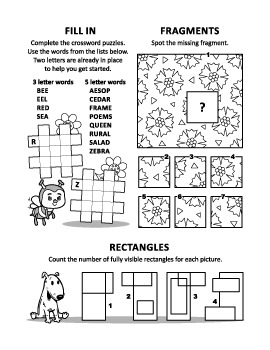 Activity Page with 3 Brain Games, Non-Commercial Use