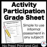 Activity Participation Grade Sheet