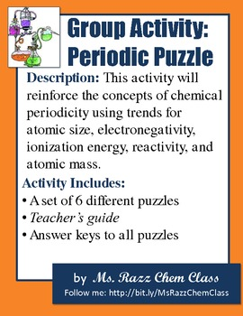 Activity periodic puzzle the placements of elements on the activity periodic puzzle the placements of elements on the periodic table urtaz Gallery