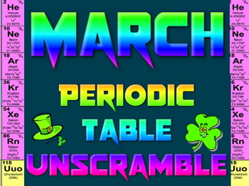 Activity: St. Patrick's and March Periodic Table unscramble