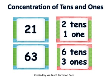 Activity Place Value Tens and Ones Memory Match Go Math Center