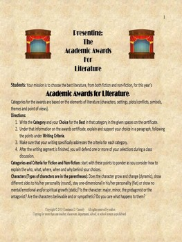 Reading Analysis Activity: Presenting the Academic Awards for Literature