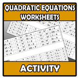 Worksheets - Quadratic equations worksheets - Ecuaciones d