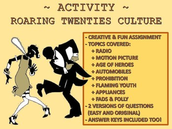 Activity: Roaring Twenties Culture (1920s) by The History ...