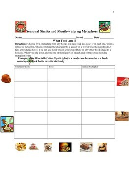 Comprehension & Writing Activity: Seasonal Similes and Mouth-Watering Metaphors