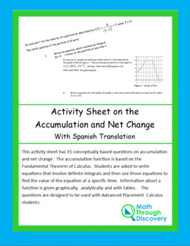 Activity Sheet on Accumulation and Net Change
