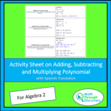 Activity Sheet on Adding, Subtracting, and Multiplying Pol