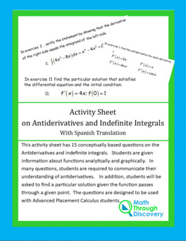 Activity Sheet on Antiderivatives and Indefinite Integrals