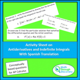 Calculus - Activity Sheet on Antiderivatives and Indefinit