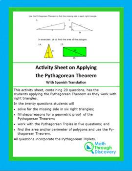 Activity Sheet on Applying the Pythagorean Theorem