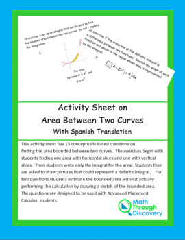 Activity Sheet on Area between Two Curves