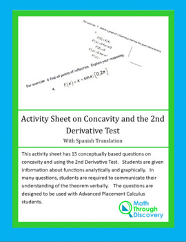 Activity Sheet on Concavity and the 2nd Derivative Test