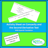 Calculus - Activity Sheet on Concavity and the 2nd Derivat