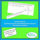 Calculus - Activity Sheet on Continuity and the Intermedia