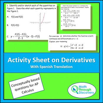 Activity Sheet on Derivatives