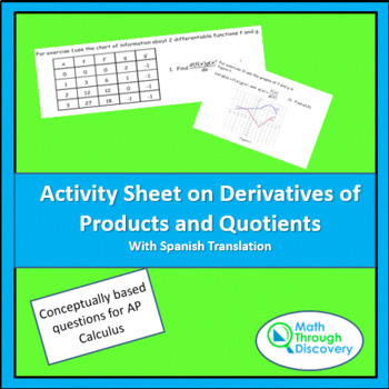 Activity Sheet on Derivatives with Products and Quotients