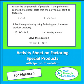 Activity Sheet on Factoring Special Products