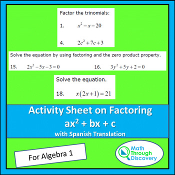 Activity Sheet on Factoring ax^2+bx+c
