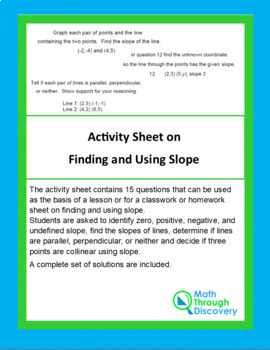 Activity Sheet on Finding and Using Slope