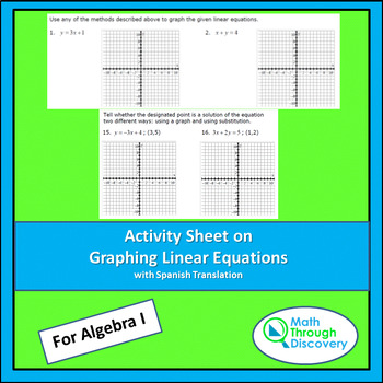 Activity Sheet on Graphing Linear Equations