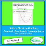 Activity Sheet on Graphing Quadratic Functions in Intercept Form