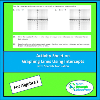 Activity Sheet on Graphing Lines Using Intercepts