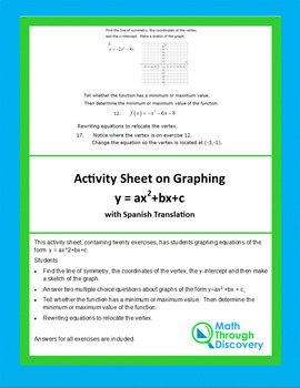 Activity Sheet on Graphing y = ax^2+bx+c