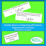 Activity Sheet on Integrating with Inverse Trigonometric Functions